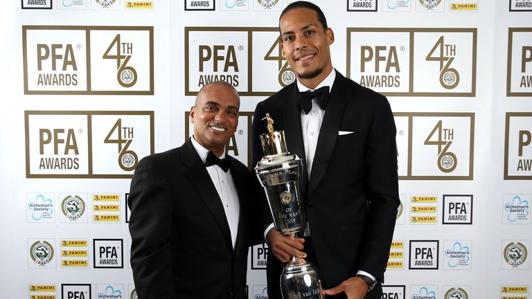 Virgil van Dijk winning the PFA Player of the Year award in 2019