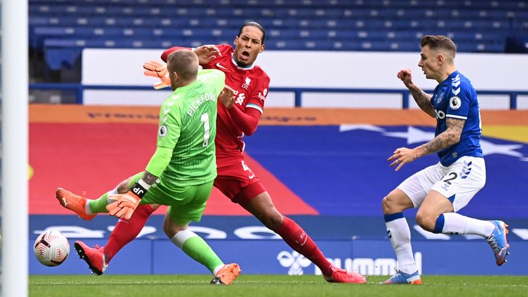 Virgil van Dijk sustained the injury after this challenge from Jorgan Pickford