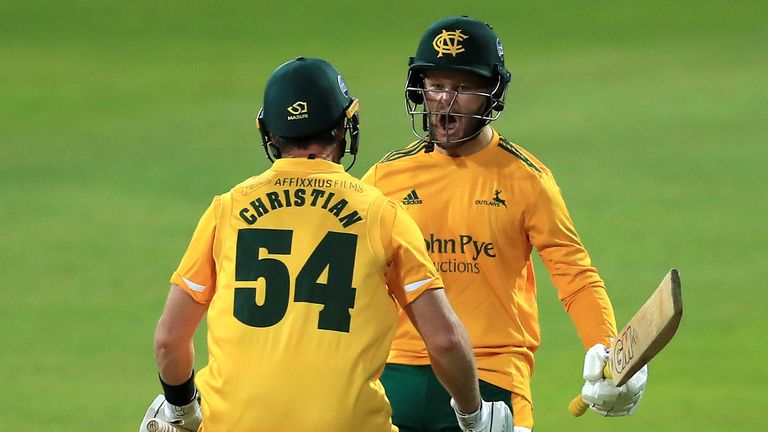 Notts Outlaws' Dan Christian (L) and Ben Duckett celebrate their side's victory at 2020 Vitality Blast Finals Day