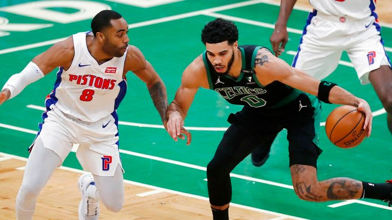 AP - Detroit Pistons' (8) defends against Boston Celtics' Jayson Tatum