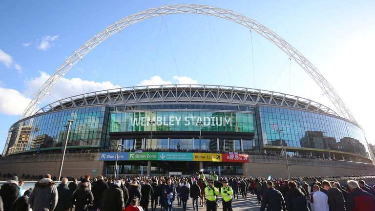 Wembley Stadium is due to host the 2021 FA Cup and Carabao Cup finals