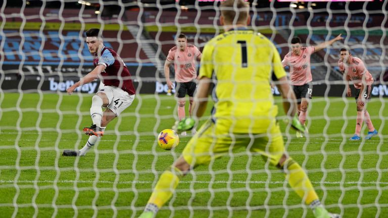 Rice makes no mistake to fire West Ham in front after 41 minutes