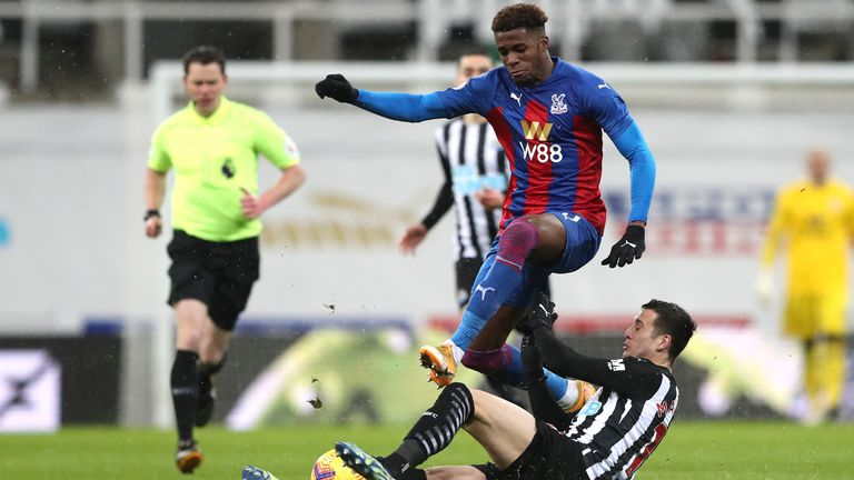 Wilfried Zaha was forced off in the second half with a hamstring injury