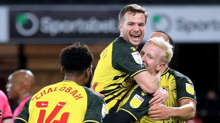 Watford's Will Hughes (second right) celebrates with his team-mates after scoring their side's second goal of the game vs Derby