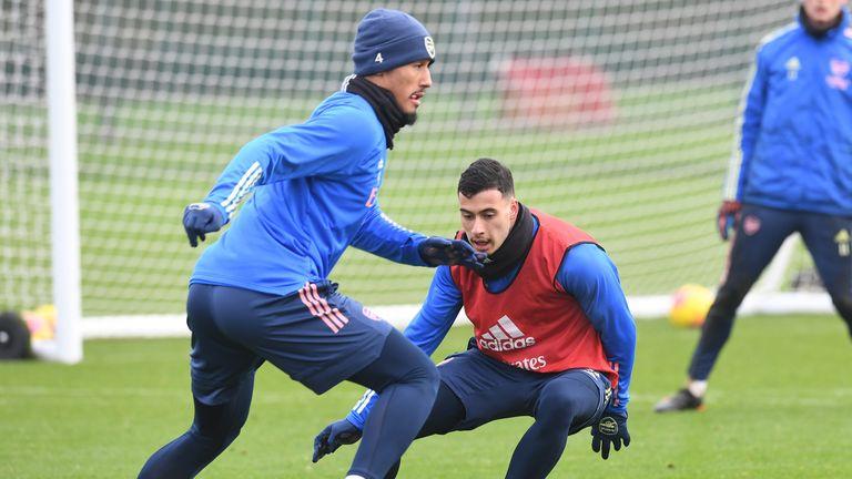 William Saliba in Arsenal training with Gabriel Martinelli