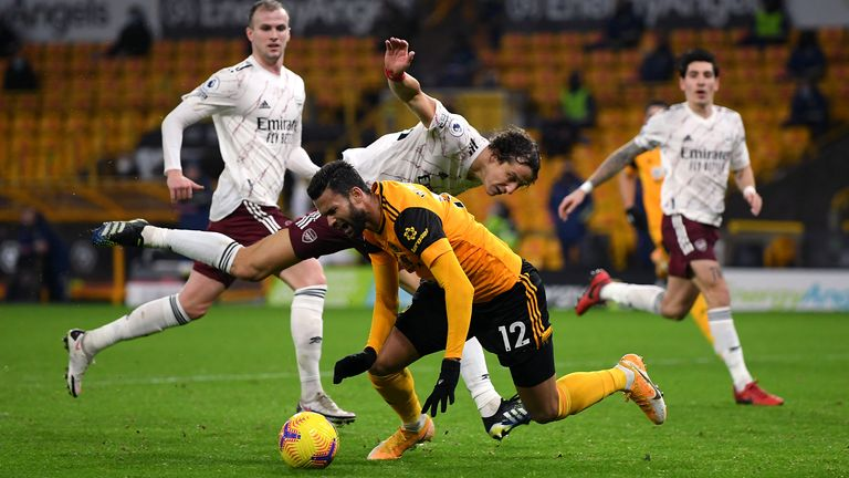 Willian Jose won Wolves' penalty in the 2-1 victory over Arsenal