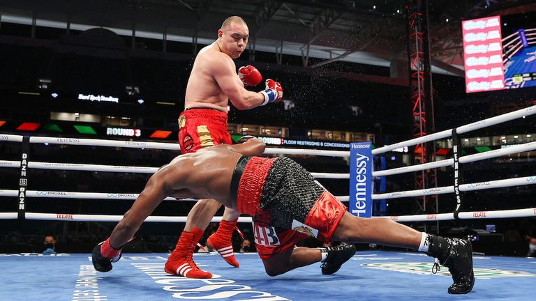 Zhang floored Forrest in each of the first three rounds