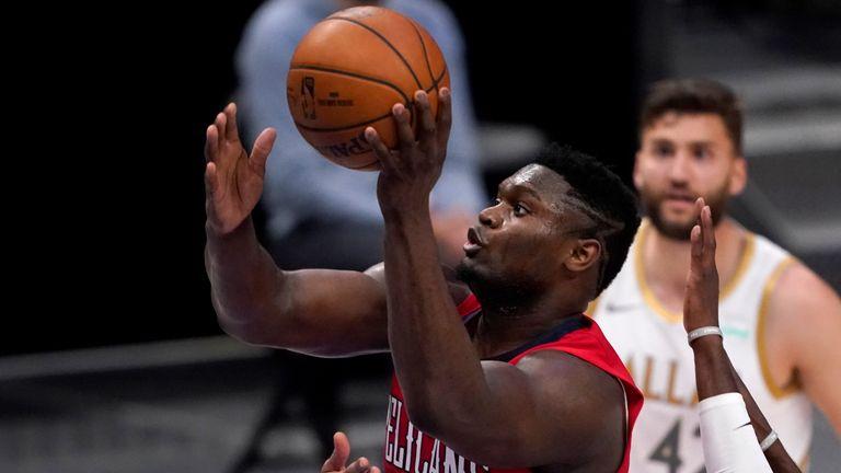 Zio Williamson also enjoyed a career night, scoring 30 points as the Pelicans slipped to defeat  (AP Photo/Tony Gutierrez)