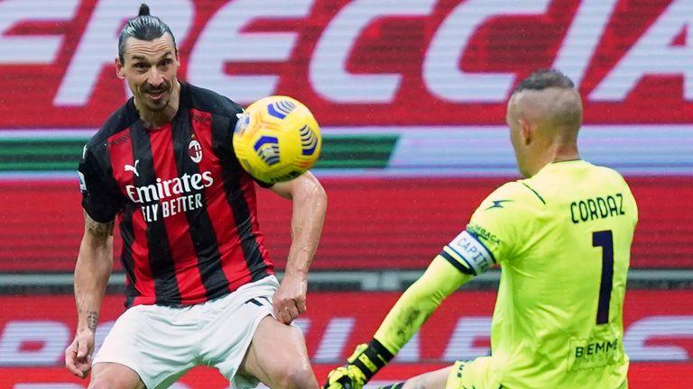 Zlatan Ibrahimovic scores his 500th club goal against Crotone