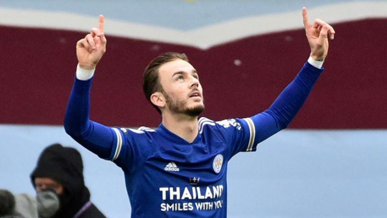 James Maddison célèbre après avoir marqué à Villa Park (AP)