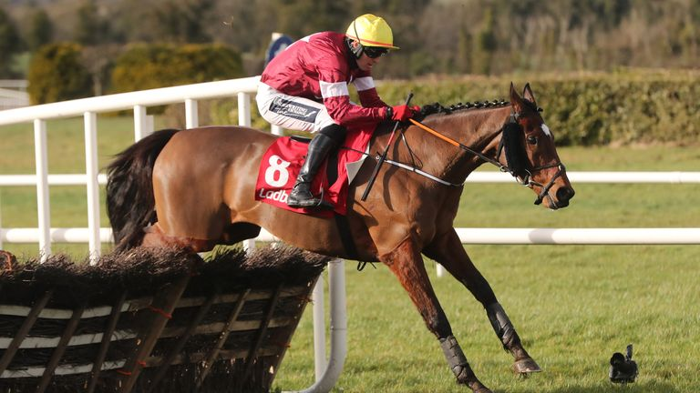 Tiger Roll ridden by Keith Donoghue jumps the last in the Ladbrokes Ireland Boyne Hurdle at Navan racecourse. Picture date: Sunday February 21, 2021.