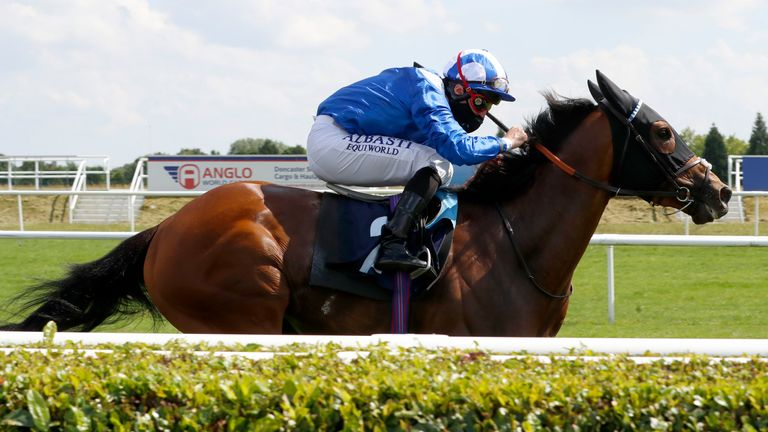 Danyah ridden by Dane O'Neill wins The Betway Heed Your Hunch Handicap at Doncaster Racecourse.