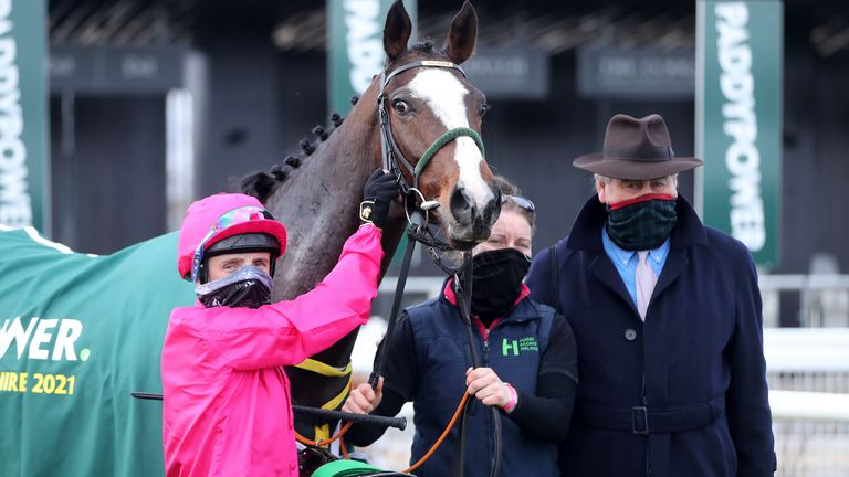 Layfayette, jockey Chris Hayes and trainer Noel Meade (right) after winning the Paddy Power Irish Lincolnshire