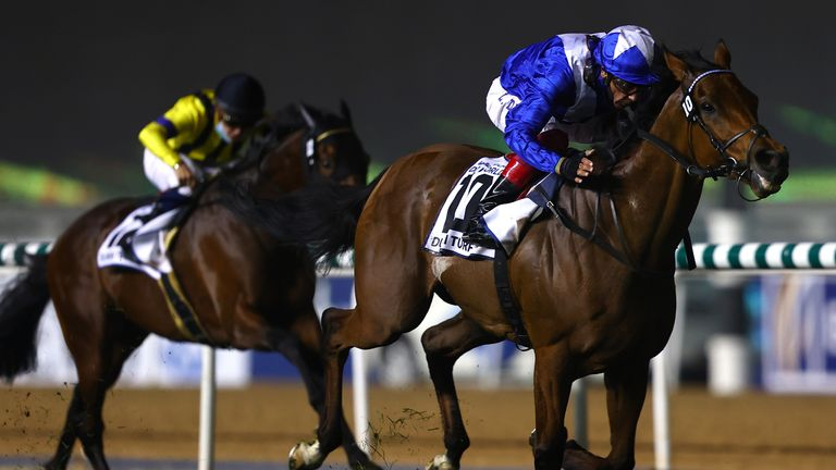 DUBAI, UNITED ARAB EMIRATES - MARCH 27:  Frankie Dettori riding Lord North wins the Dubai Turf during Dubai World Cup at the Meydan Racecourse on March 27, 2021 in Dubai, United Arab Emirates. (Photo by Francois Nel/Getty Images)