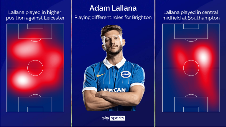 Adam Lallana has played in both more advanced and deeper roles for Brighton