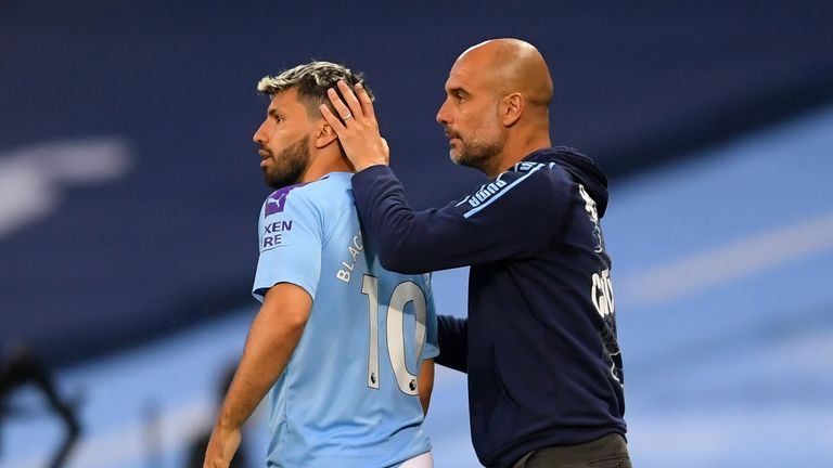 Manchester City's Sergio Aguero is subbed on by Manchester City manager Pep Guardiola during the Premier League match at the Etihad Stadium, Manchester.
