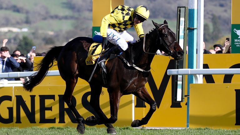 Al Boum Photo ridden by Jockey Paul Townend wins the Magners Cheltenham Gold Cup Chase in 2020
