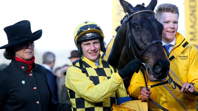 Paul Townend celebrates after winning the Cheltenham Gold Cup with Al Boum Photo