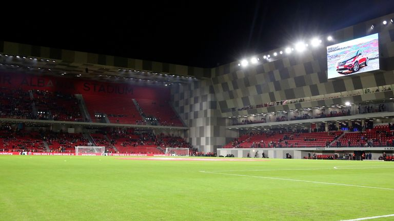 England are due to play in Albania's Arena Kombetare on Sunday (AP)