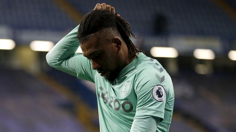 Alex Iwobi shows his frustration during Everton's loss to Chelsea