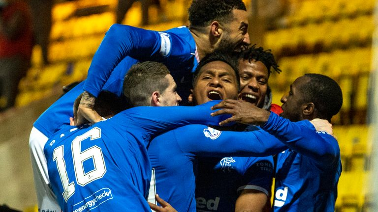 Alfredo Morelos celebrates his winner for Rangers