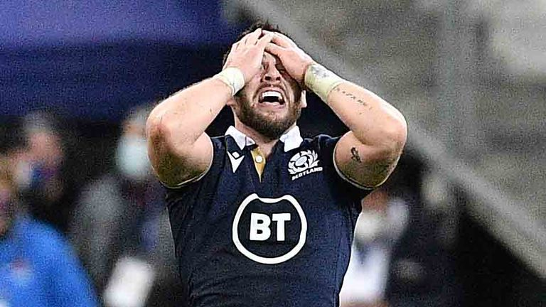Ali Price reacts after the final whistle against France