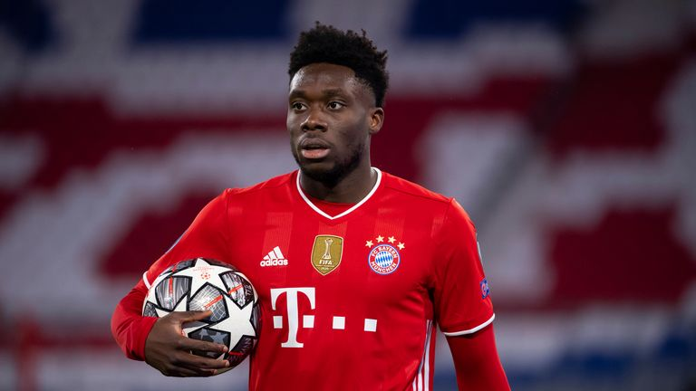 17 March 2021, Bavaria, Munich: Football: Champions League, Bayern Munich - Lazio Roma, knockout round, round of 16, second leg at Allianz Arena. Alphonso Davies of Munich is on the pitch. Photo by: Sven Hoppe/picture-alliance/dpa/AP Images
