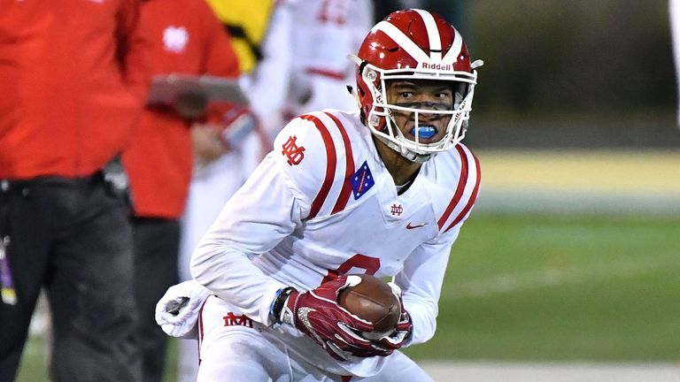 St Brown in action for Mater Dei high school in the CIF State Prep Football Open Division State Championship Game against De La Salle (Image: Louis Lopez/Cal Sport Media via AP)