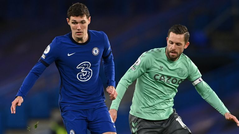 Chelsea's Andreas Christensen and Everton's Gylfi Sigurdsson (right) battle for the ball