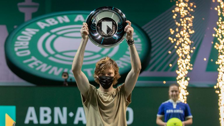 Andrey Rublev claimed his first title of 2021, but his fourth successive ATP 500 tournament victory (AP Photo/Peter Dejong)