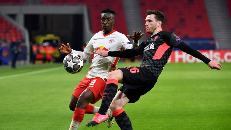AP - Andy Robertson in action against RB Leipzig