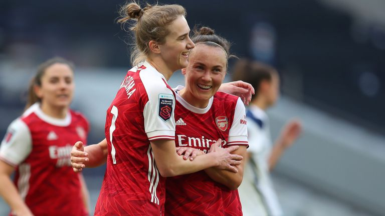 Vivianne Miedema of Arsenal celebrates with Caitlin Foord after scoring their team's second goal