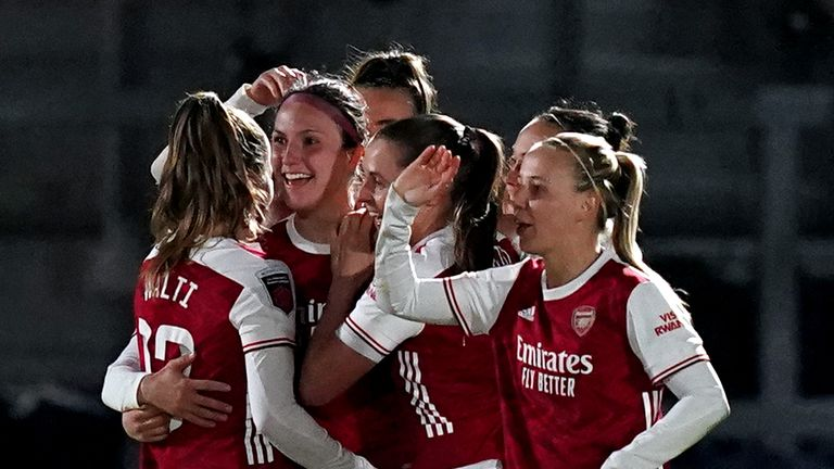 Lotte Wubben-Moy celebrates scoring Arsenal's second in their win over Manchester United