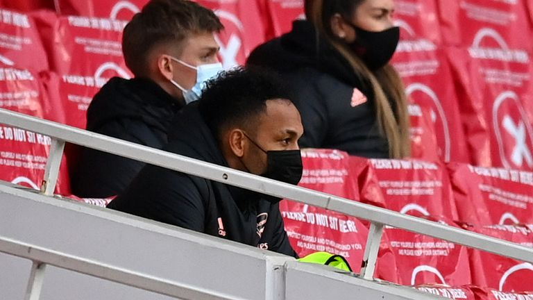 Aubameyang was an unused substitute during the 2-1 loss to Tottenham