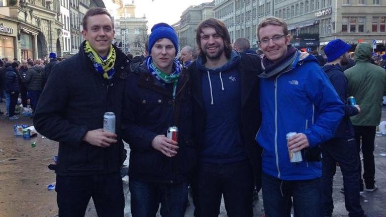 Matt Jones (second from right) in Bern, Switzerland