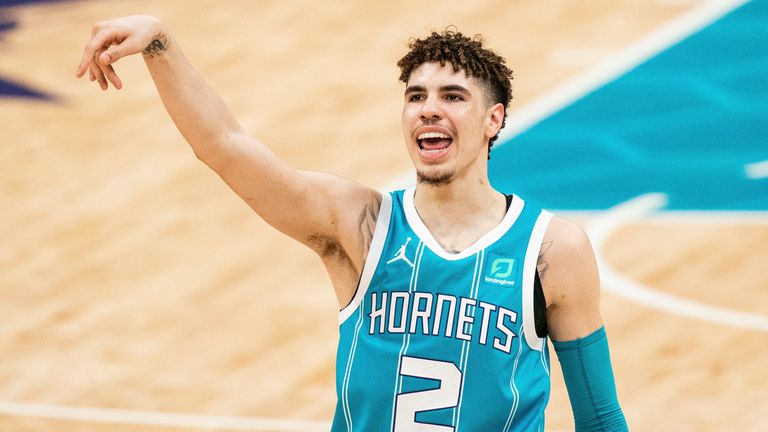 Charlotte Hornets guard LaMelo Ball (2) after missing a 3 point shot against the Toronto Raptors during the second half of an NBA basketball game in Charlotte, N.C., Saturday, March 13, 2021.