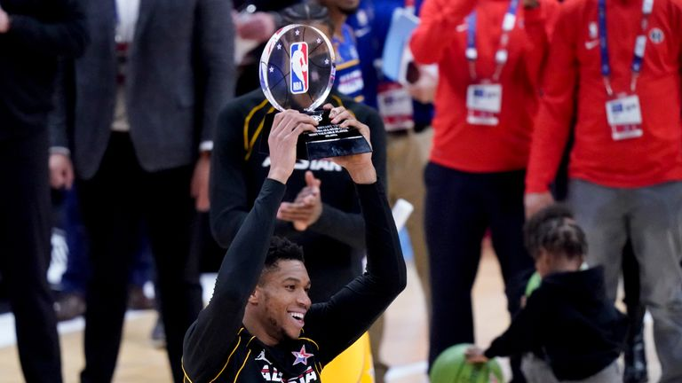 Giannis Antetokounmpo top-scored with 35 points as he was named MVP of the NBA All-Star Game.