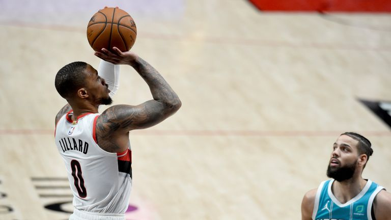Damian Lillard poured in the three-pointers as Portland ended their four-game losing run against Charlotte.