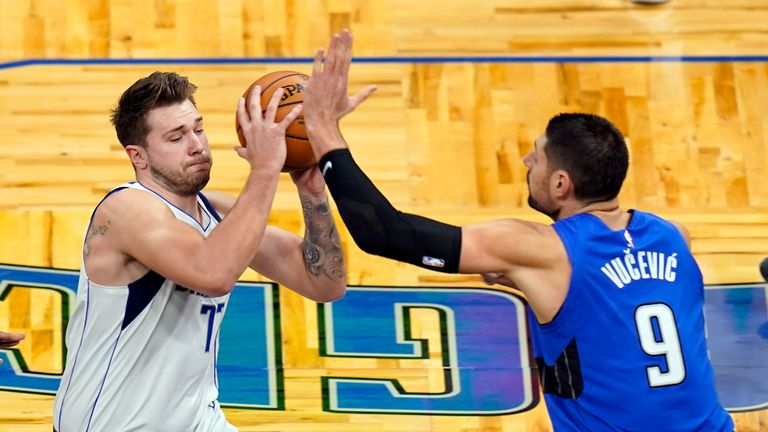 Dallas star Luka Doncic deceived the Orlando Magic defence with an amazing behind-the-back assist as Dorian Finney-Smith scored in the fourth quarter.