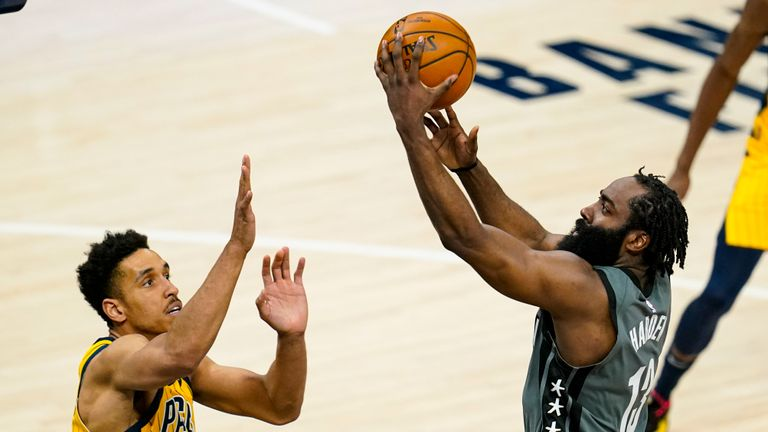 James Harden finished with 40 points, 10 rebounds and 15 assists as Brooklyn beat Indiana in the NBA.