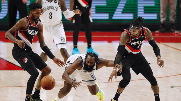 Brooklyn's James Harden provided an incredible 17 assists as the Nets overcame the Portland Trail Blazers 116-112.
