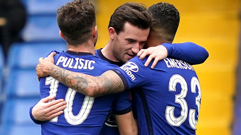 Ben Chilwell celebrates Chelsea's opening goal against Sheffield United