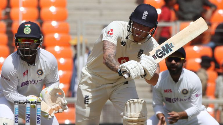 Ben Stokes top-scored for England with 55, his 24th Test fifty (Pic credit - BCCI)