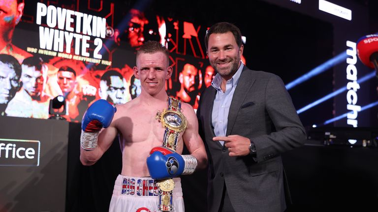 Ted Cheeseman vs James Metcalf, vacant British Super-Welterweight Title. 27 March 2021 Picture By Mark Robinson Matchroom Boxing Ted Cheeseman celebrates with Eddie Hearn.