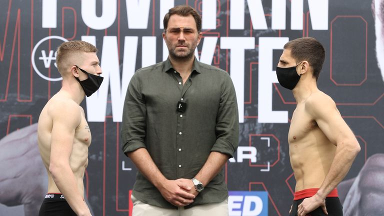 *** FREE FOR EDITORIAL USE ***.Campbell Hatton and Jesus Ruiz weigh In ahead of their Super-Featherweight Title fight tomorrow night..26 March 2021.Picture By Mark Robinson Matchroom Boxing.