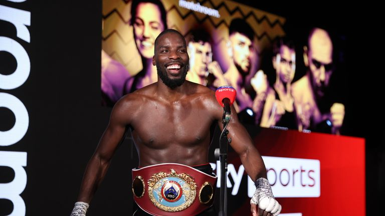Lawerence Okolie vs Krzysztof Glowacki, WBO Crusierweight Title Contest, SSE Wembley Arena. 20 March 2021 Picture By Mark Robinson Matchroom Boxing. Lawerence Okolie with his belt after his win.