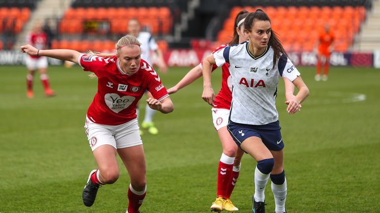PA - Bristol City's Kiera Skeels (left) and Tottenham Hotspur's Rosella Ayane (right) in WSL action