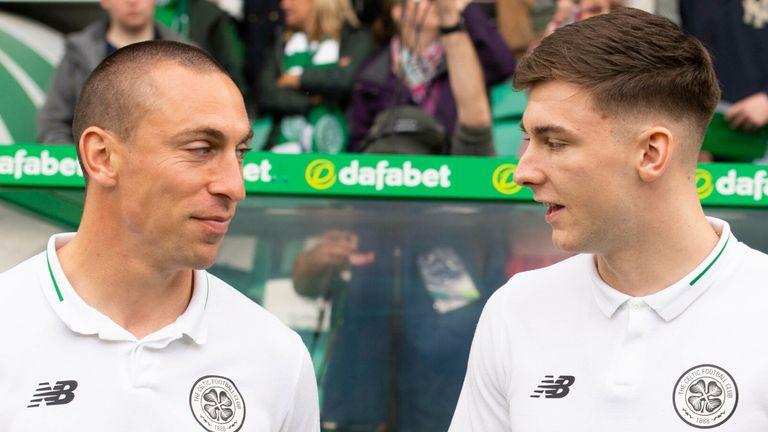 19/05/19 LADBROKES PREMIERSHIP.CELTIC v HEARTS .CELTIC PARK - GLASGOW .Celtic captain Scott Brown and Kieran Tierney