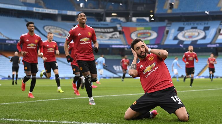 Bruno Fernandes celebrates his well-taken second-minute penalty