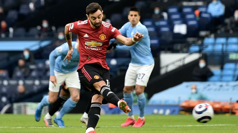 Bruno Fernandes scores from the penalty spot to give Man Utd an early lead (AP)